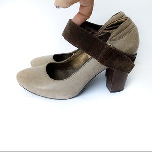 Size 7.5❤️APEPAZZA STACKED HEELS w/suede
